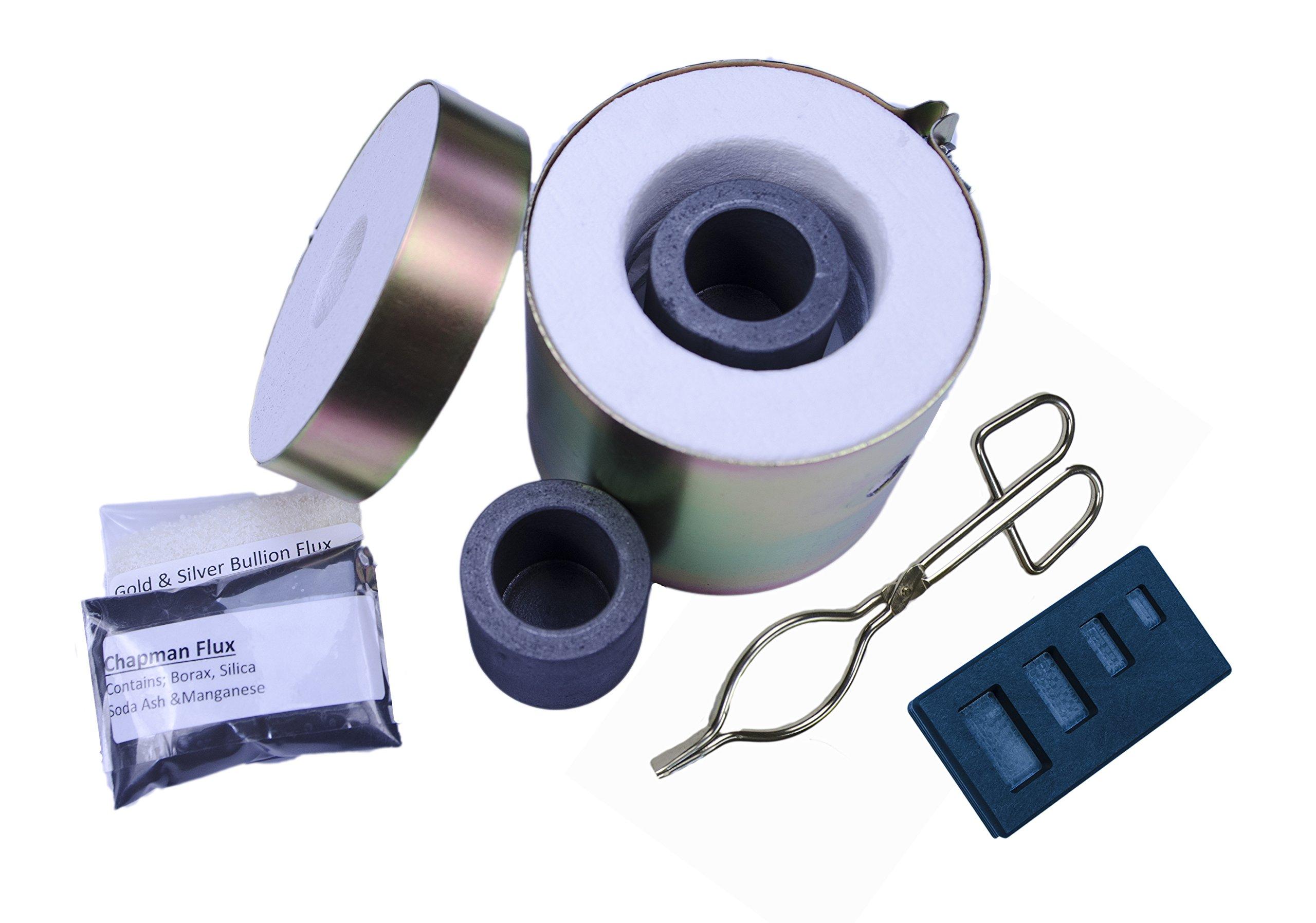 Gold & Silver Melting Kiln Tongs Crucibles 4 Cavity Mold Mini Propane Gas Furnace #4