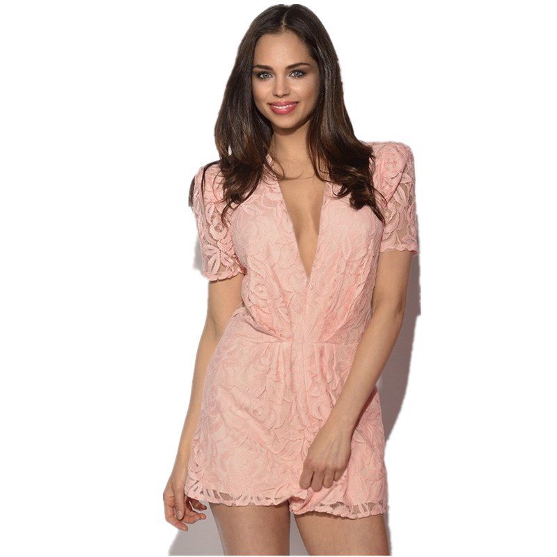 a42dd6ef628 Get Quotations · Pink Lace Short Sleeve Short Pant Jumpsuit Women Deep  V-neck Casual Summer Overalls Hot