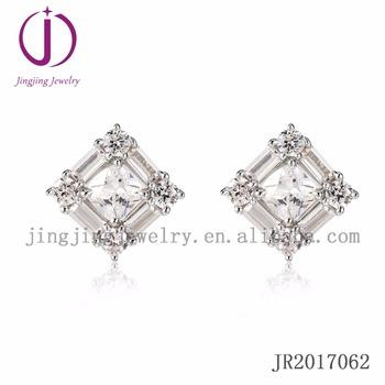 38cc851a7a08d Hip Hop Diamond 925 Sterling Silver Princess Cut Stud Stone Earring Backs -  Buy Earring Backs,Princess Cut Stone,Hip Hop Diamond Earring Product on ...