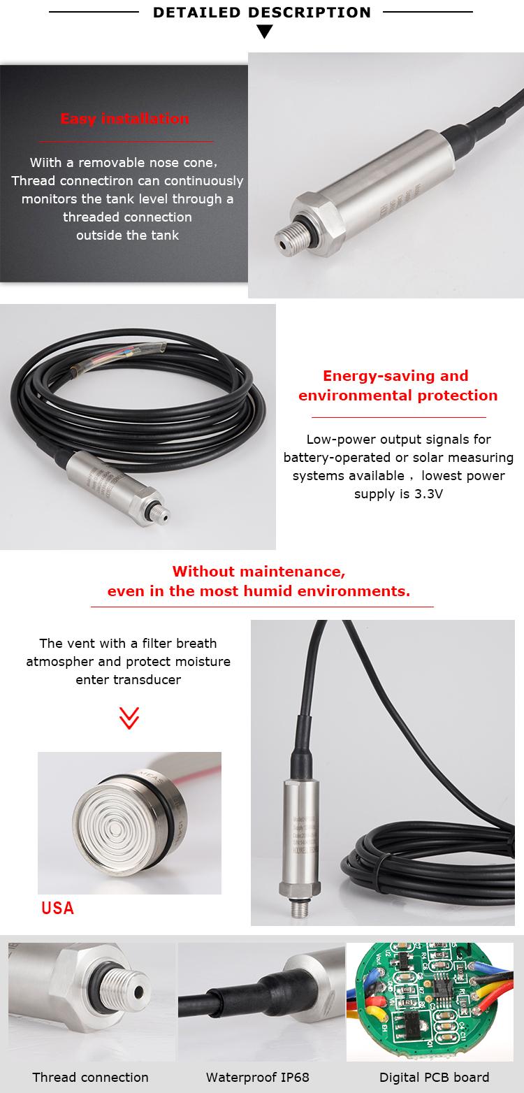 Holykell fabrika HPT603 ATEX 0-5PSI diş tipi dalgıç basınç sensörü