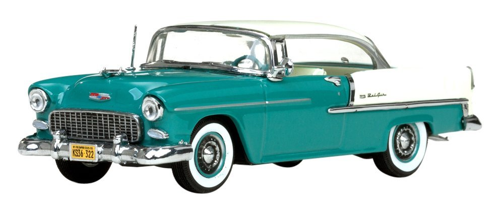 1955 Chevrolet Bel Air Hard Top India Ivory/Regal Turquoise 1/43 by Vitesse 36322