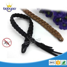 Free sample leather eco-friendly mosquito repellent bracelet bug band