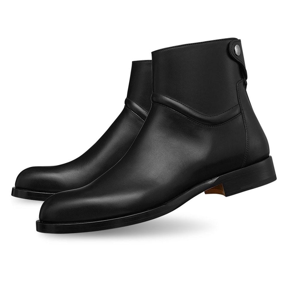 cd758a80138 Bottes courtes pour homme en cuir véritable homme chaussures messieurs  cheville bottes pour Noël