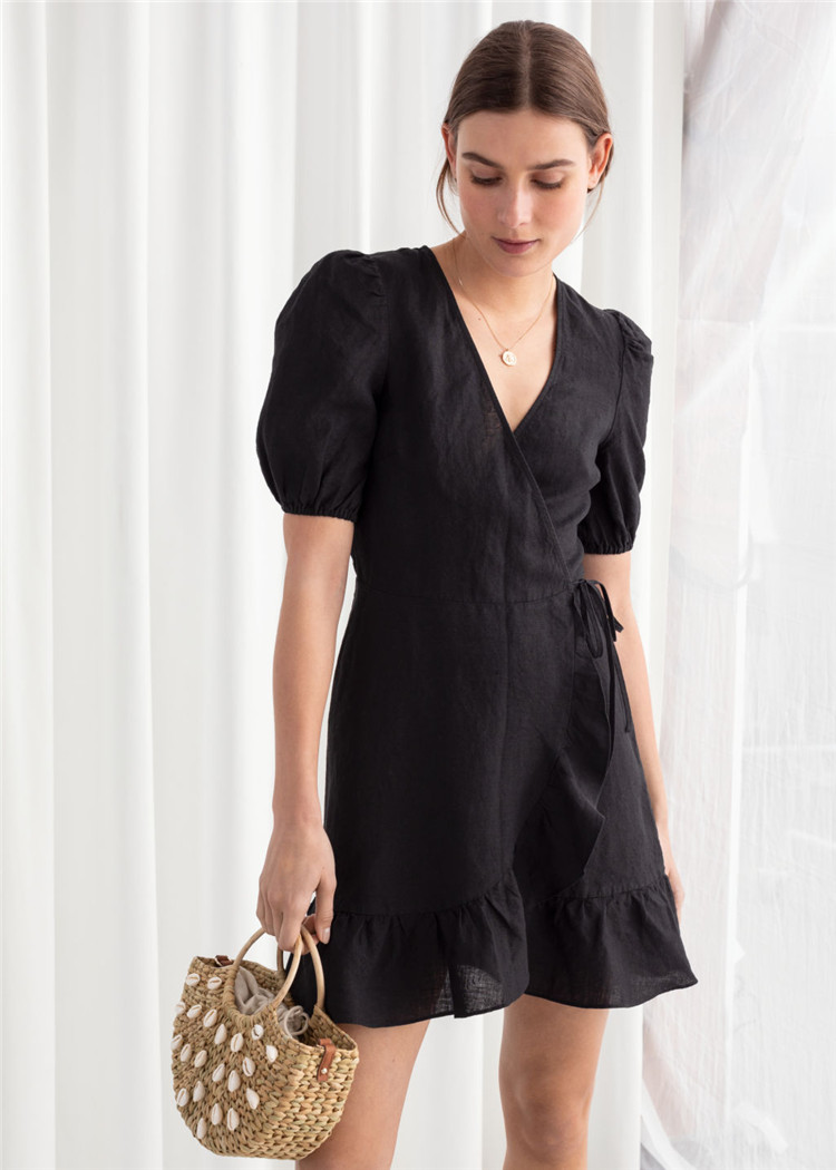 Model Baru 100% Kain Linen Puff Lengan Wrap Mini Pakaian Kasual Gaun Wanita