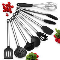 8 Piece Best Non-Stick Cooking Silicone Kitchen Utensils with Stainless Steel Handle for Cooking Baking BBQ