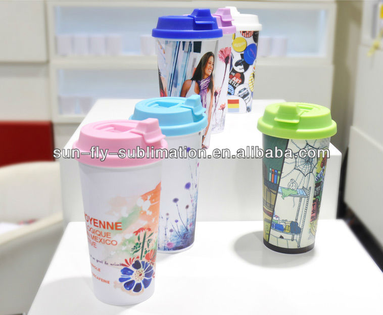 3d heat press sublimation double wall tumbler dye sublimation plastic tumbler OEM Factory
