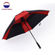 Extra large double canopy layer strong windproof black and red auto open golf umbrella