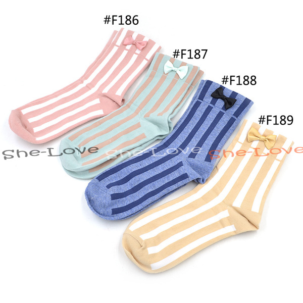 Harajuku симпатичные цвета конфеты бантом полосатый хлопок носки женщины носки