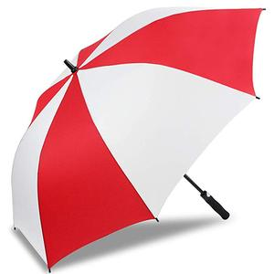 Red white double layer custom print golf red and white umbrella