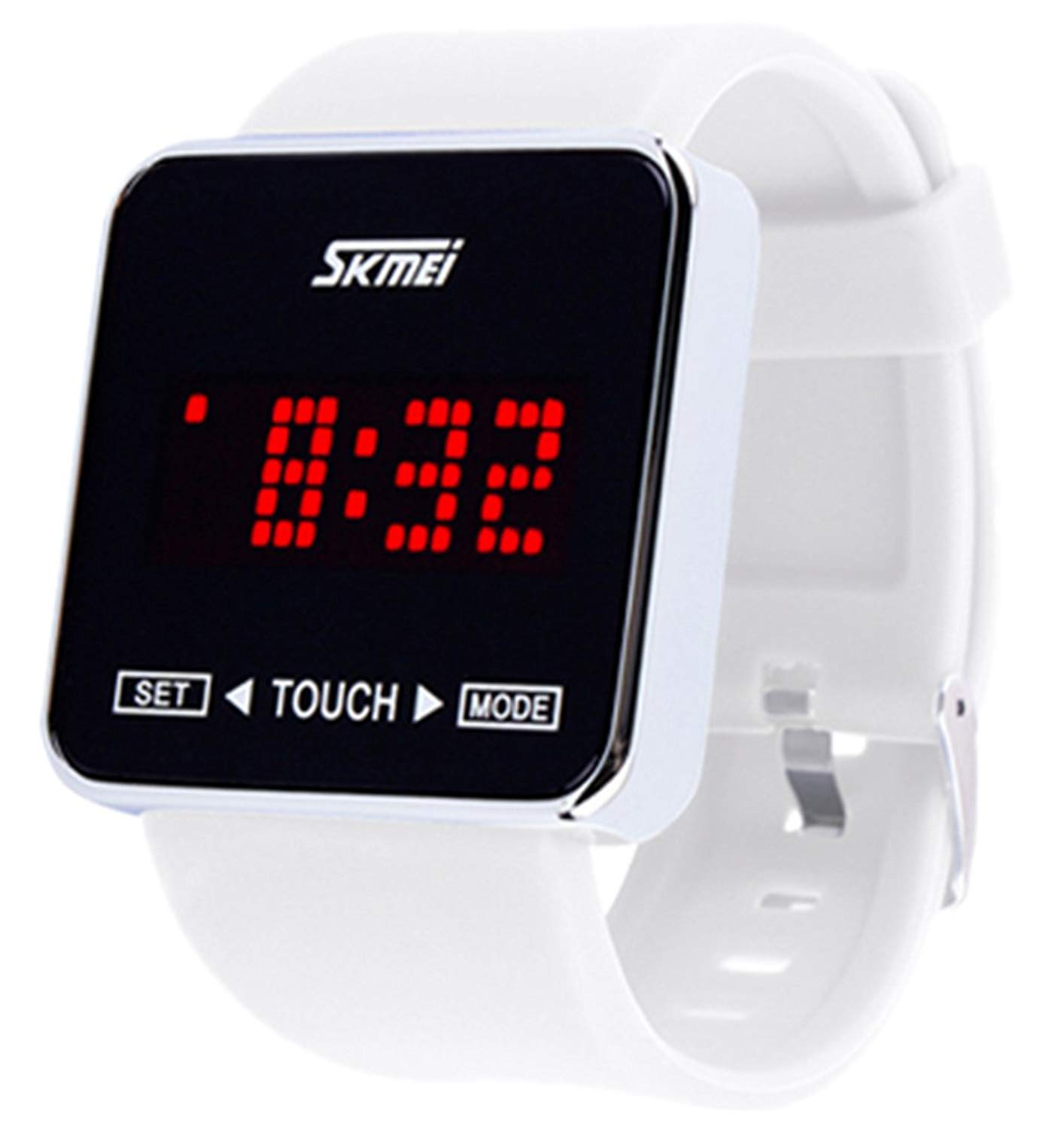 Unisex Children's Girls Simple Design Square Dial Rubber Band Digital Touch Led Screen White Wrist Watch