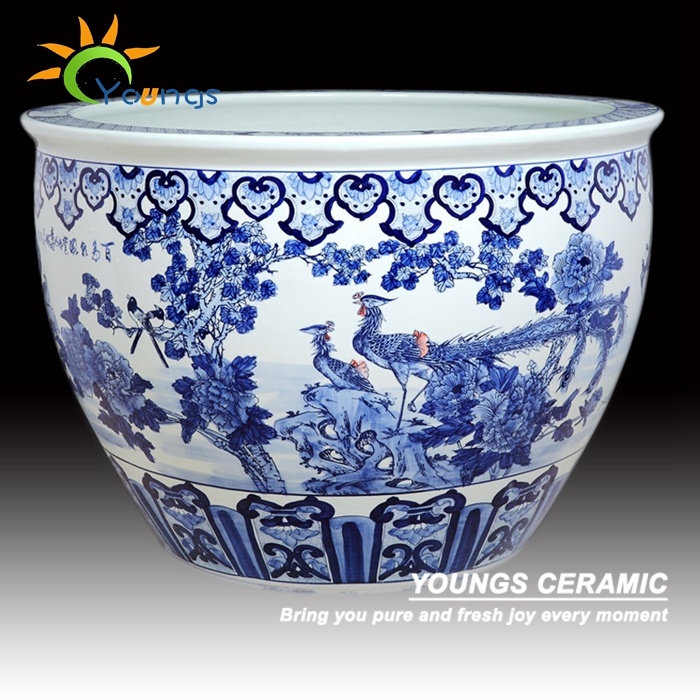 Antique Large Chinese Hand Painted Blue White Ceramic