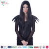 "wholesale cheap synthetic hair 24"" long black witch halloween wig"