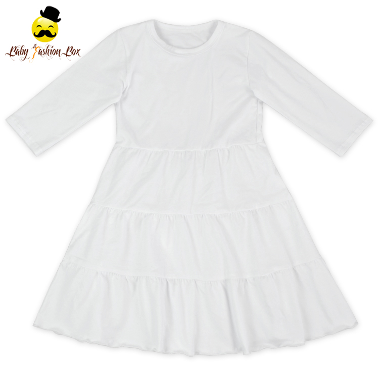 2018 Spring Latest Children Dress Designs Plain White Cotton Long Sleeve Kids Frock Design For Baby Girl