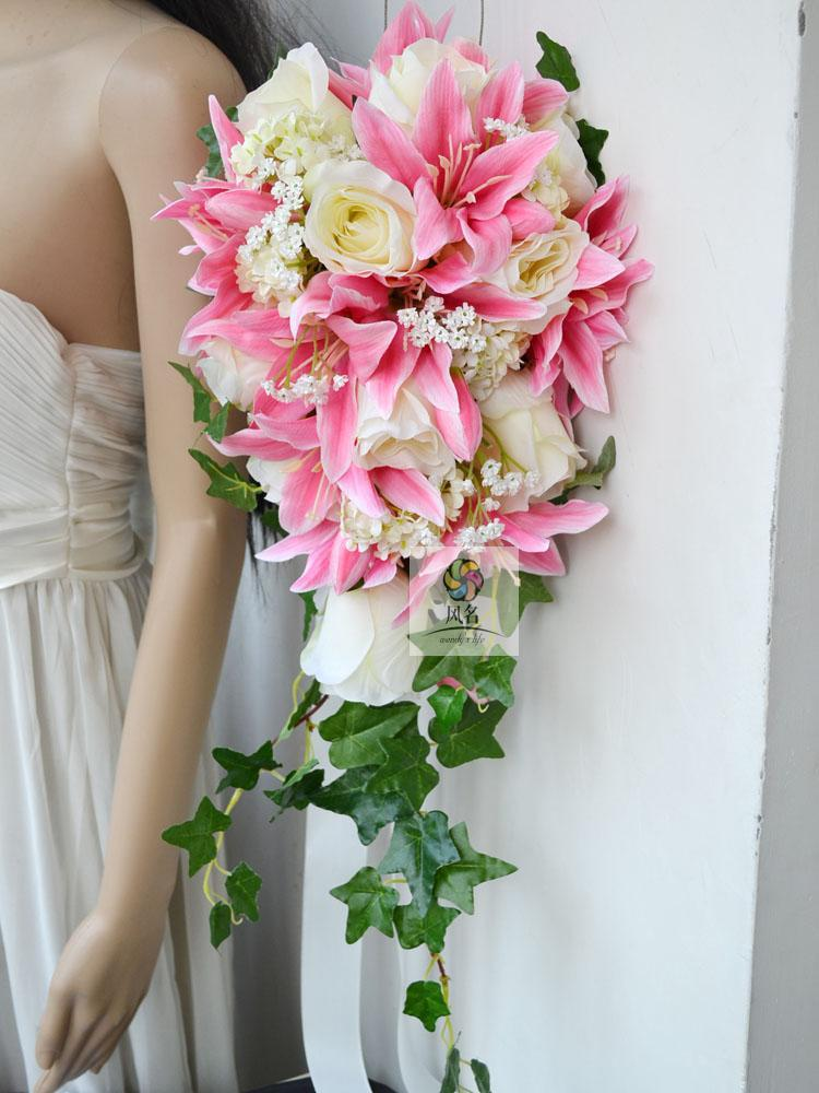 cascading bridal bouquet for wedding of silk flower rose and lily baby 39 s breath in decorative. Black Bedroom Furniture Sets. Home Design Ideas
