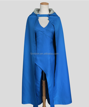 Daenerys Targaryen Robe + Cap Bleu Cosplay D'halloween Game of Thrones <span class=keywords><strong>Costume</strong></span>