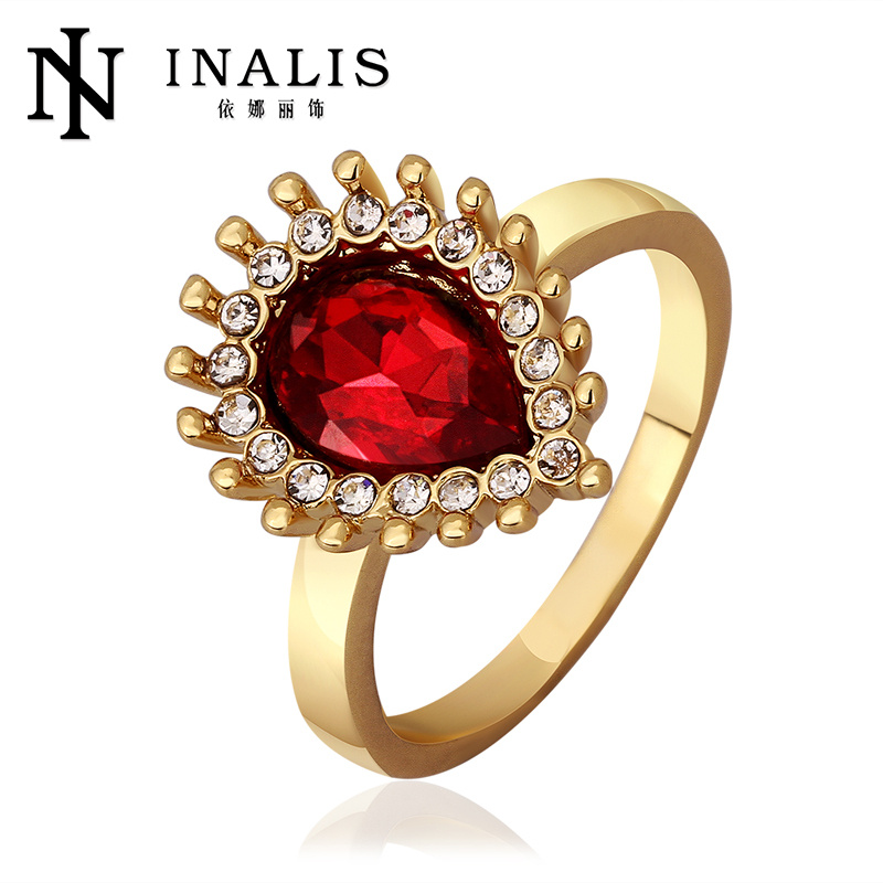 Charming Mixed Styles Ruby 18K Gold Plating One Stone Ring Designs