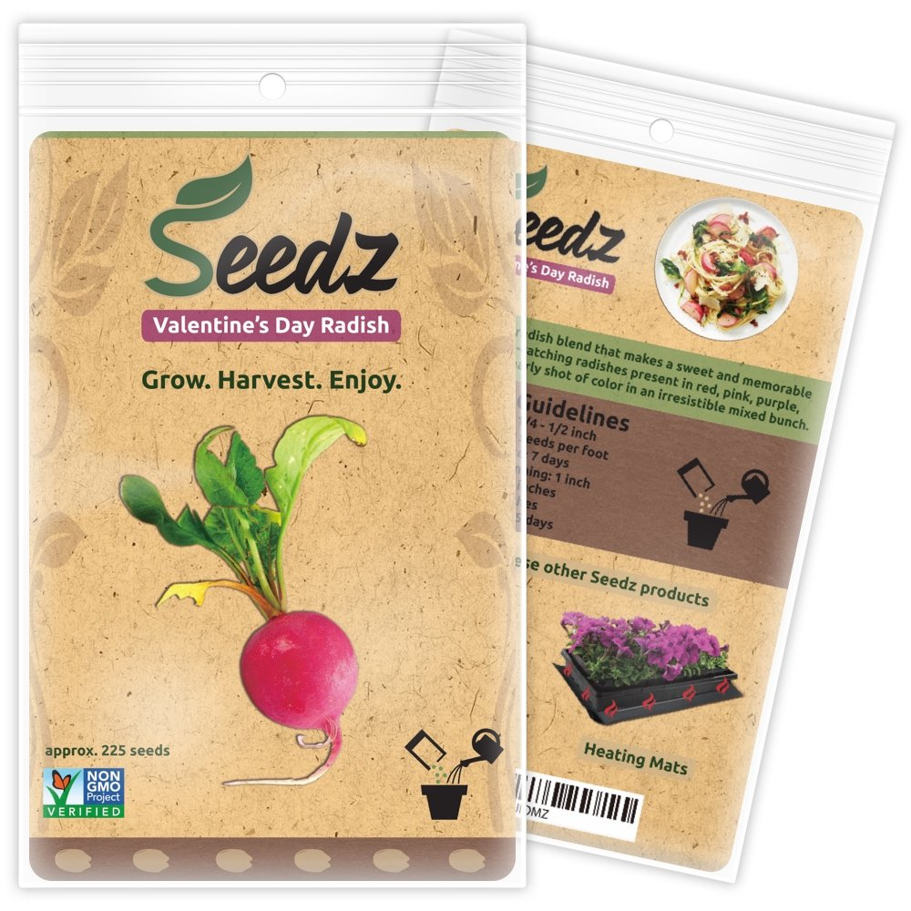 CERTIFIED ORGANIC SEEDS (Appr. 225) - Valentine's Day Radish Seeds - Open Pollinated Vegetable Seeds - Organic, Non Hybrid Garden Seeds - USA