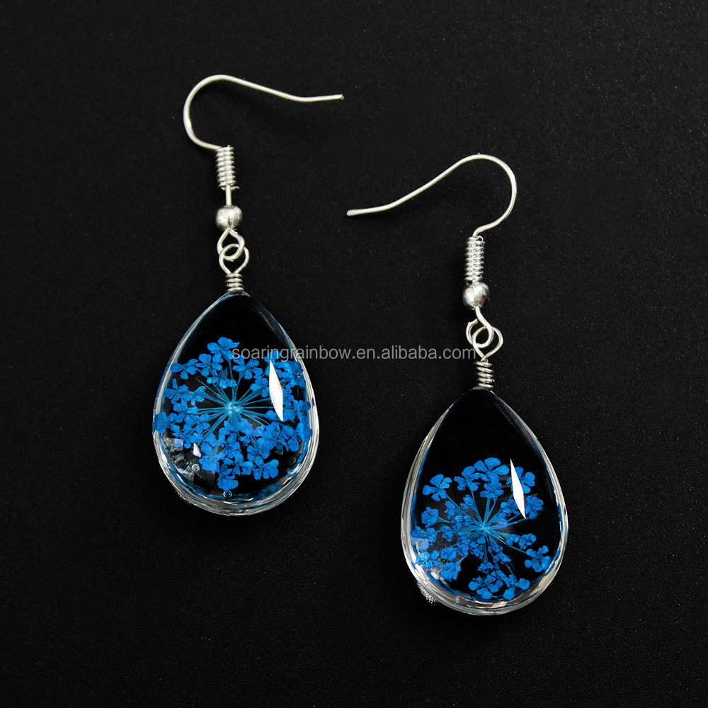 9d2ee8513 pressed flower earring real dry flower fashion resin earrings 11 colors