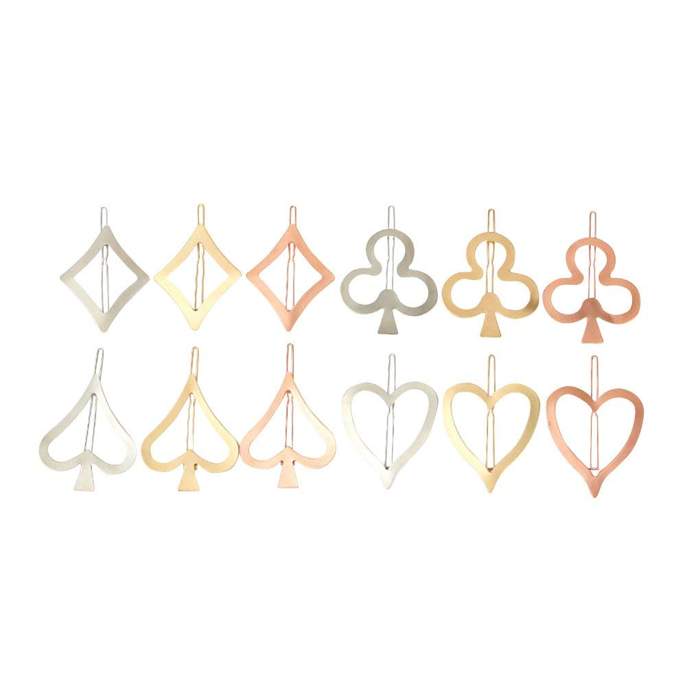 ShungFun Women Girls Hairpins Geometry Playing Cards Pattern Hair Bow Clips Bobby Pins Hair Clasps Hair Holders Head Bows BB Clips For Little Girl Toddlers Keens Baby girls (12pcs/set)
