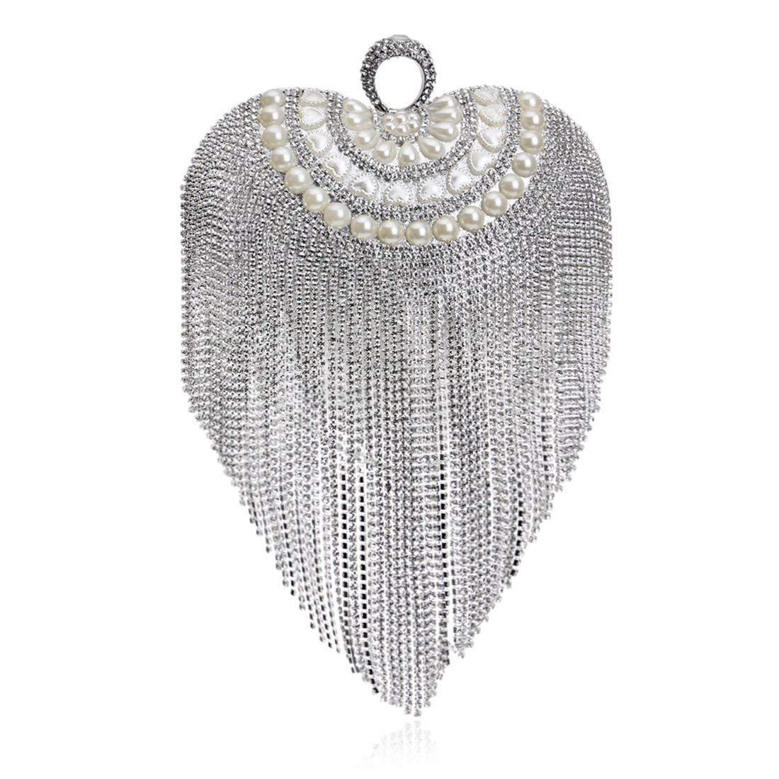 Fly mini heart-shaped tassel evening bag luxury luxury bride lady dress clutch evening bag (Color : Silver)