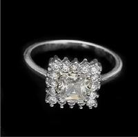 Platinum Plated Silver Eternity Imitation Diamante New Design Ladies Finger Ring