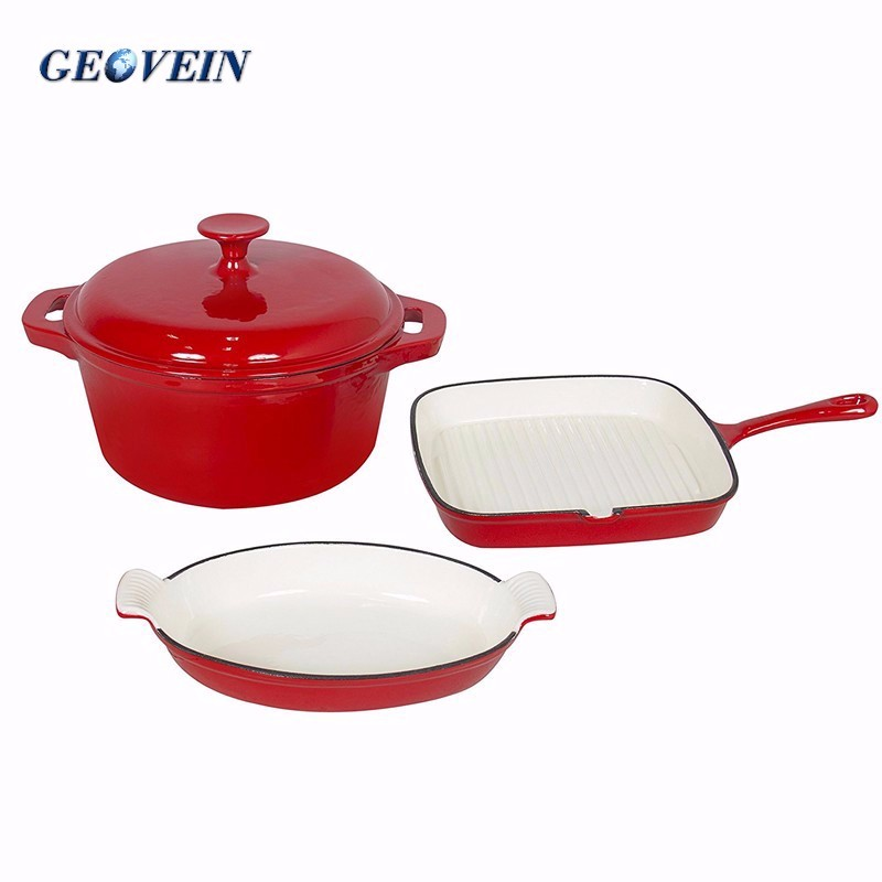 Home&garden enameled cast iron pan 3 pcs cooking pots cookware set