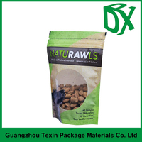 New products 2016 customized printed clear window BOPP plastic stand up pouch with zipper for dog food packaging