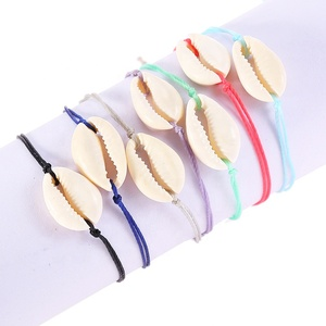 Women Custom Color Hand made Beach Minimalist Cowrie Shell Bracelets Anklets