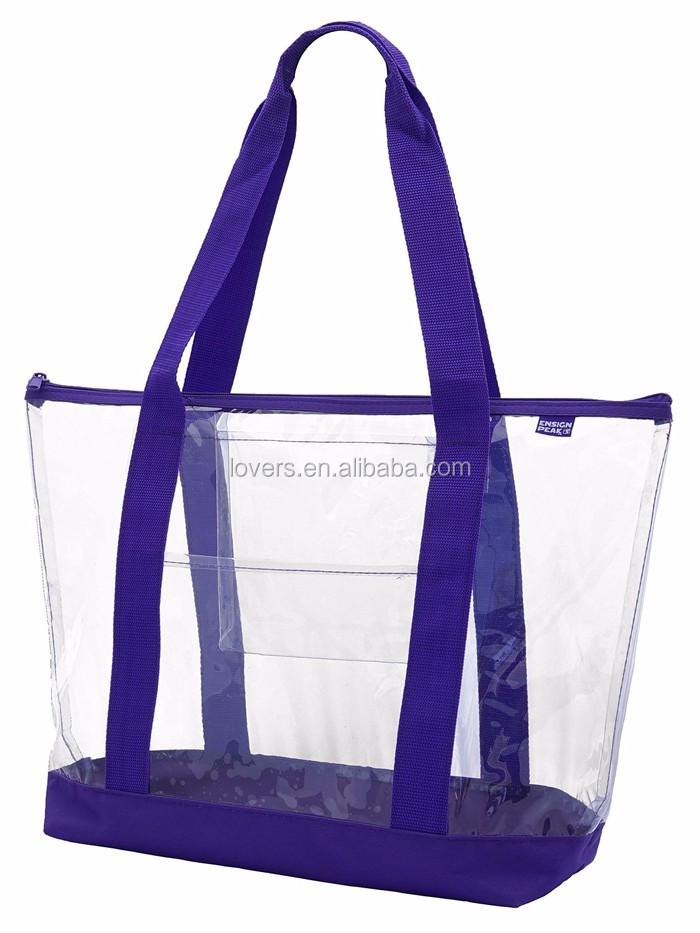 Wholesale Clear Vinyl Pvc Zipper Tote Bags With Handles