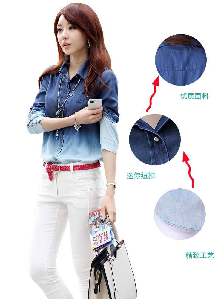 2016 New fashion Gradient Dress shirt for women Long sleeve Casual Shirt Blouse with Gradient color