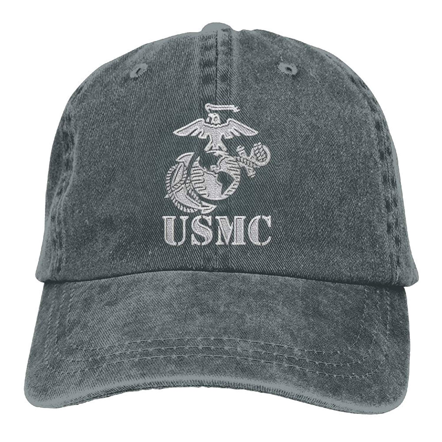 18700c45906 Get Quotations · Eagle Globe Anchor USMC Marine Corps - Embroidered Retro  Denim Baseball Hat Trucker Hat Dad Hat