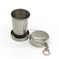 High quality FDA cetefication portable & foldable stainless steel collapsible Metal Shot Glass beer cup /small travel mug 75ml.