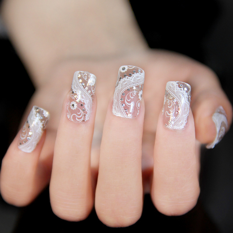 New Fashion Nails Art Stickers Lace Rhinestone Designs 3d White Lace ...
