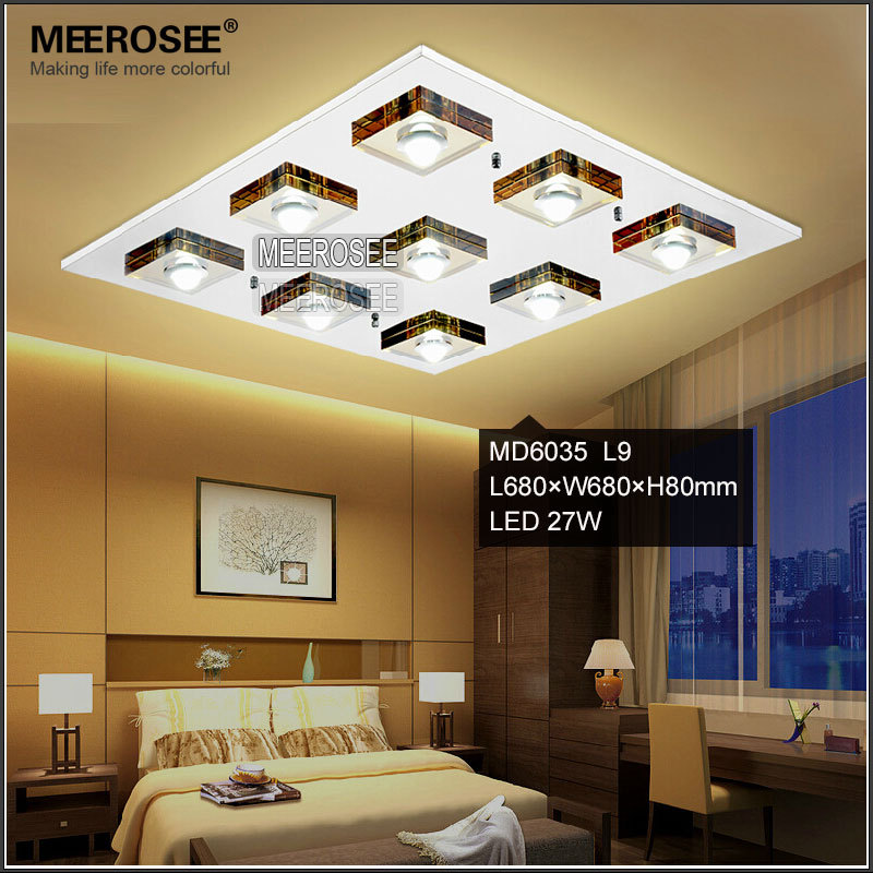 meerosee led rectangular crystal ceiling lamp stainless steel interior fancy light md6035 - Living Room Fancy Lights