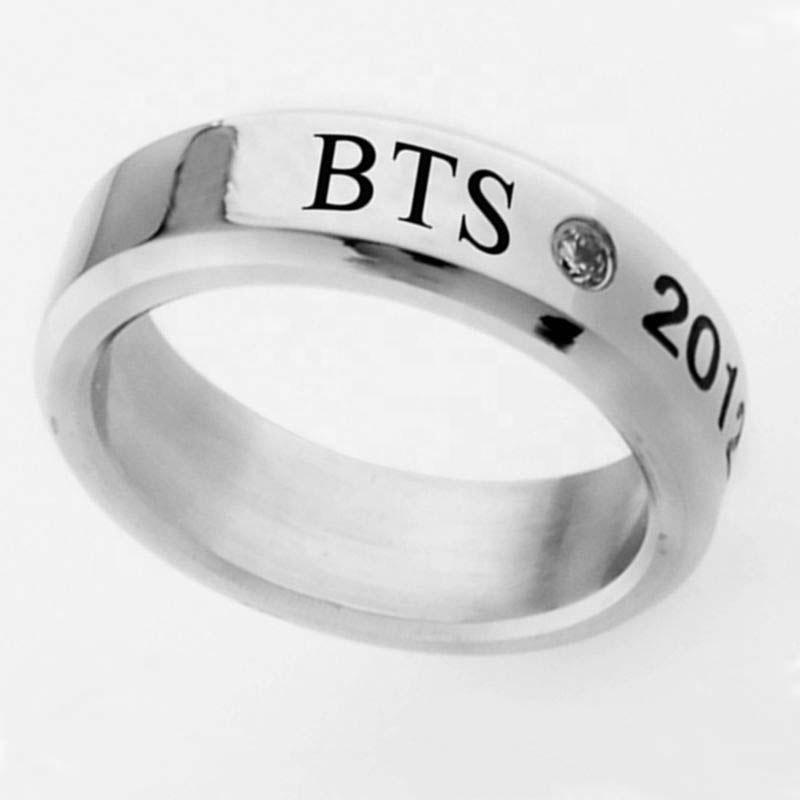 الجملة Kpop BTS عضو جيمين سوجا V خاتم إصبع من الفولاذ المقاوم للصدأ