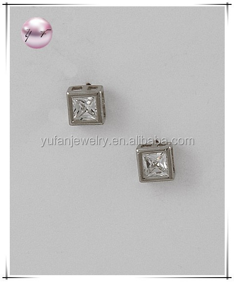 Silver Tone / Lead&nickel Compliant / Square Cut / Clear Cubic Zirconia / Surgical Steel Post / Stud / Earring Set