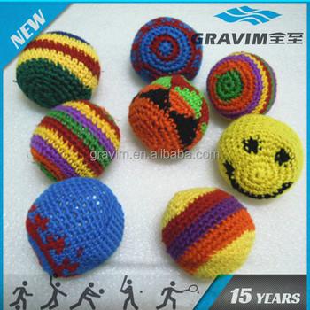 4557d663e34 Cheap Cotton Thread Knitted Kick Ball Custom Footbag Hacky Sack with Logo  Printing