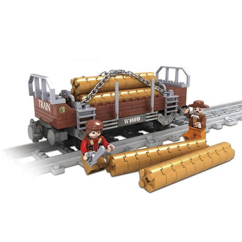 Train Track Timberjack 150 PCS Ausini Plastic Kid Toy Train Transport Wood Building Blocks Toys Set