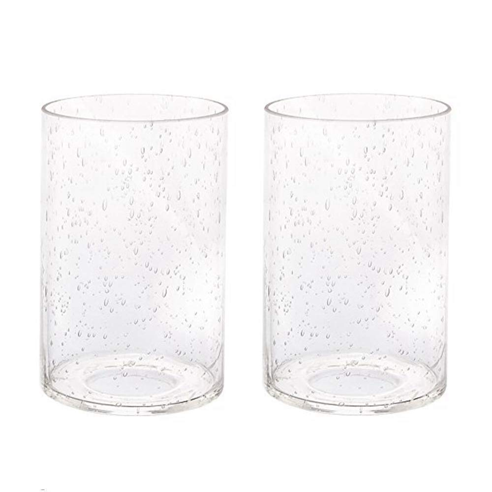 """Clear Cylinder Glass Shade Clear Bubble Glass Lamp Shade Diameter 3.55"""" Height 5.5"""" Fitter 1.65"""" 2 Pack"""