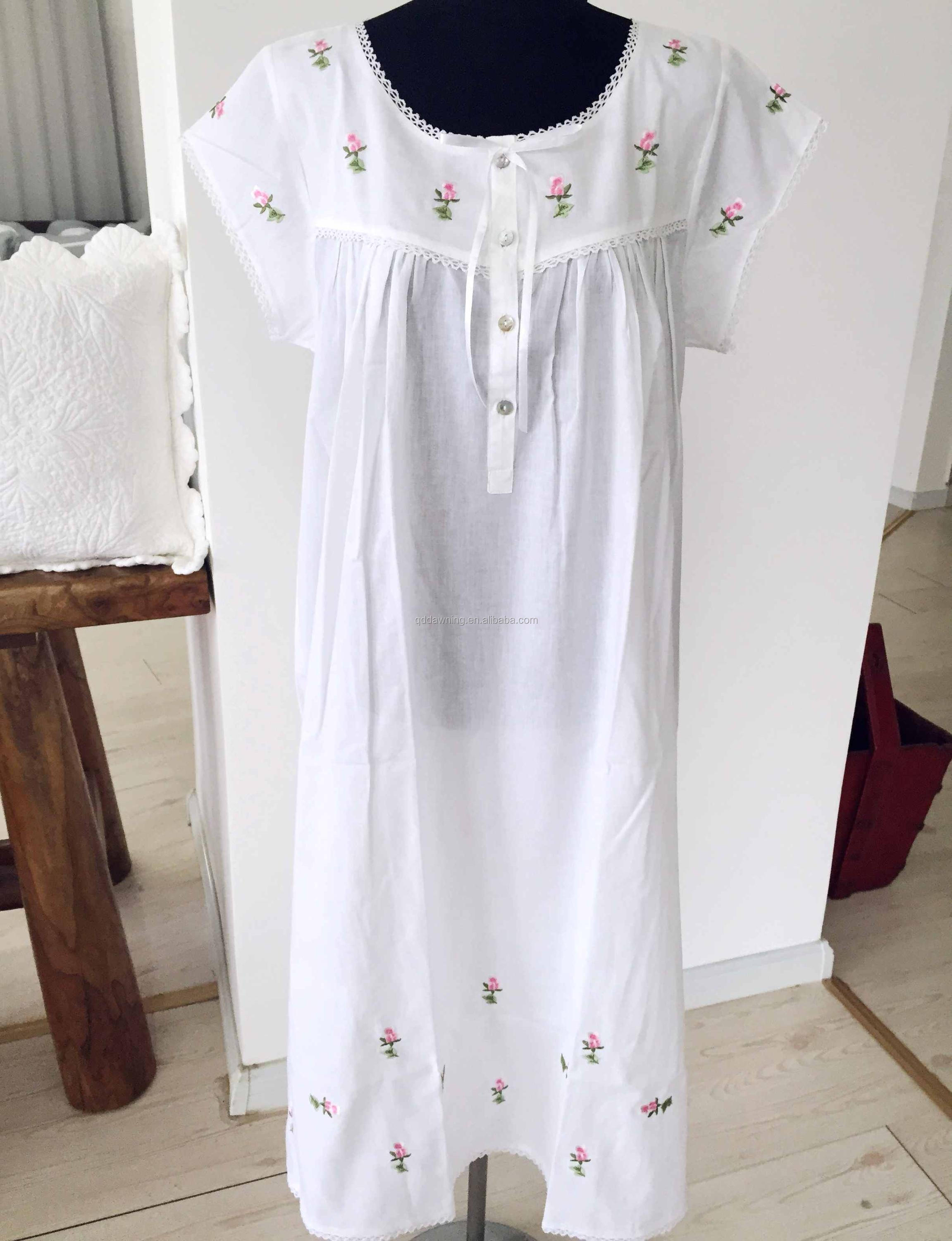 cb5abc4935 New Design White Cotton Nightgown Ladies In Nightdress - Buy Ladies ...