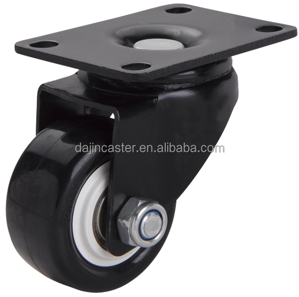 Factory Price Small Black PU PVC Furniture Trolley Caster Wheels