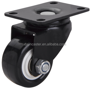 Small Black PU PVC Furniture Trolley Caster Wheels