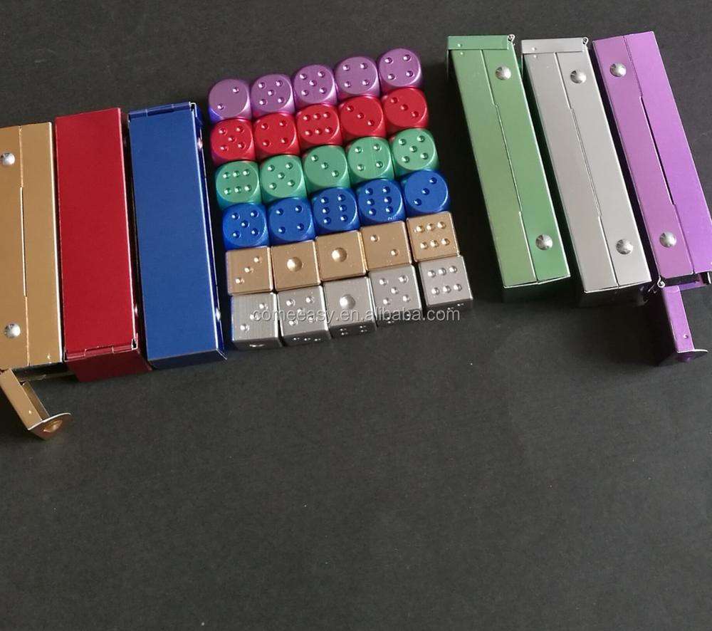 with case colorful professional aluminum 6 Sides Dice for board game