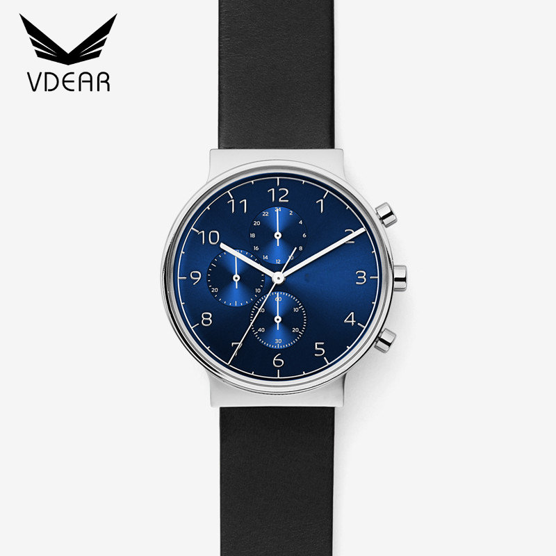 Best seller three eyes navy blue dial classic watch men customized dial chronograph watch