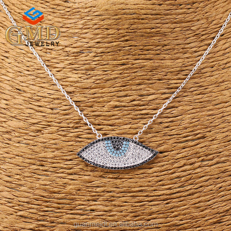 Ladies tops latest design luxury micro pave zircon stone turkish evil eye necklaces