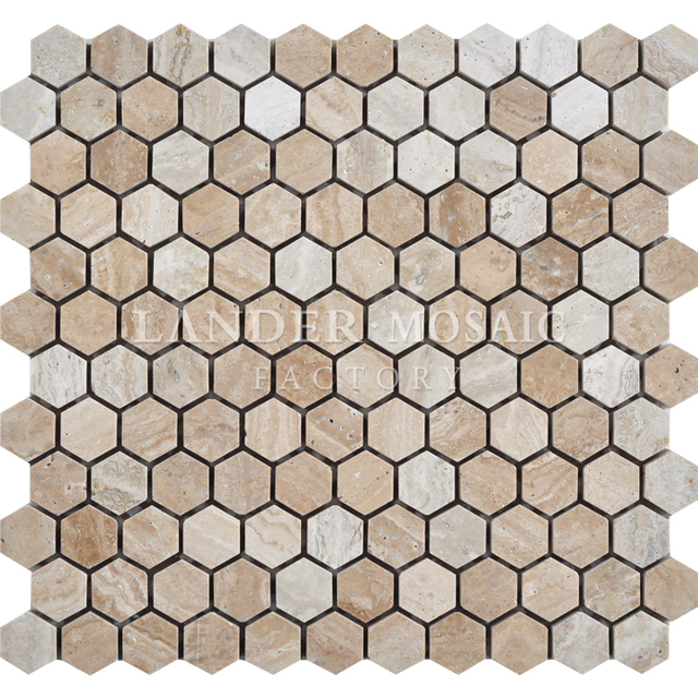 lander stone travertine marble mosaic tile small size hexagonal beige color exterior stone tile