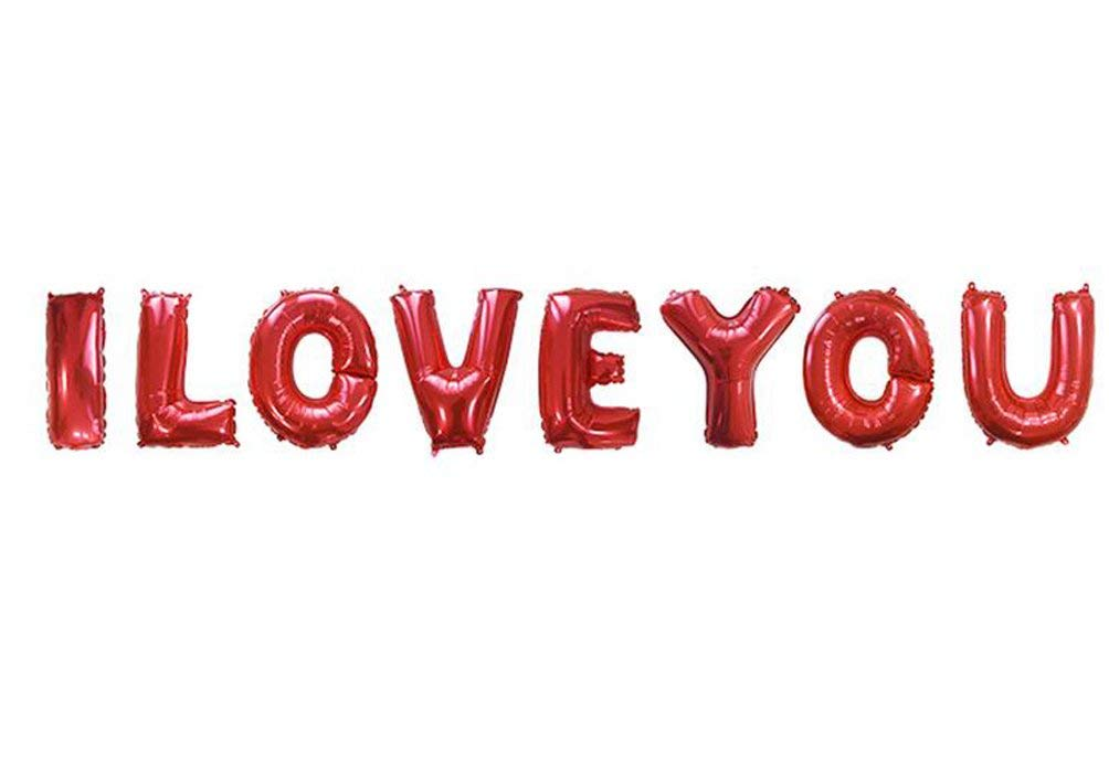 SGODA I LOVE YOU Red Letters Foil Balloons Valentine's Day Wedding Party Decorations