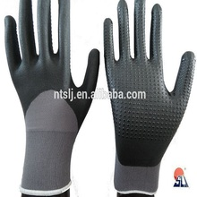 SLJsafety China manufacturer 2016 safety work PU palm black dipped nylon glove rubber glove