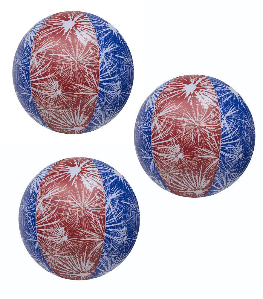 Impact Activated Light-Up Beach Ball with Fireworks Design - 14in diameter 3 Pk