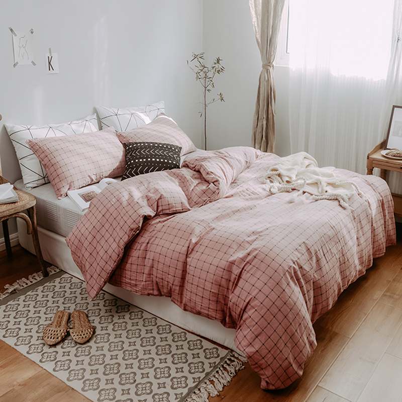 Nordic Bedding <strong>Set</strong> Pink 2/3pcs Family <strong>Set</strong> Cotton Duvet Cover Pillowcase